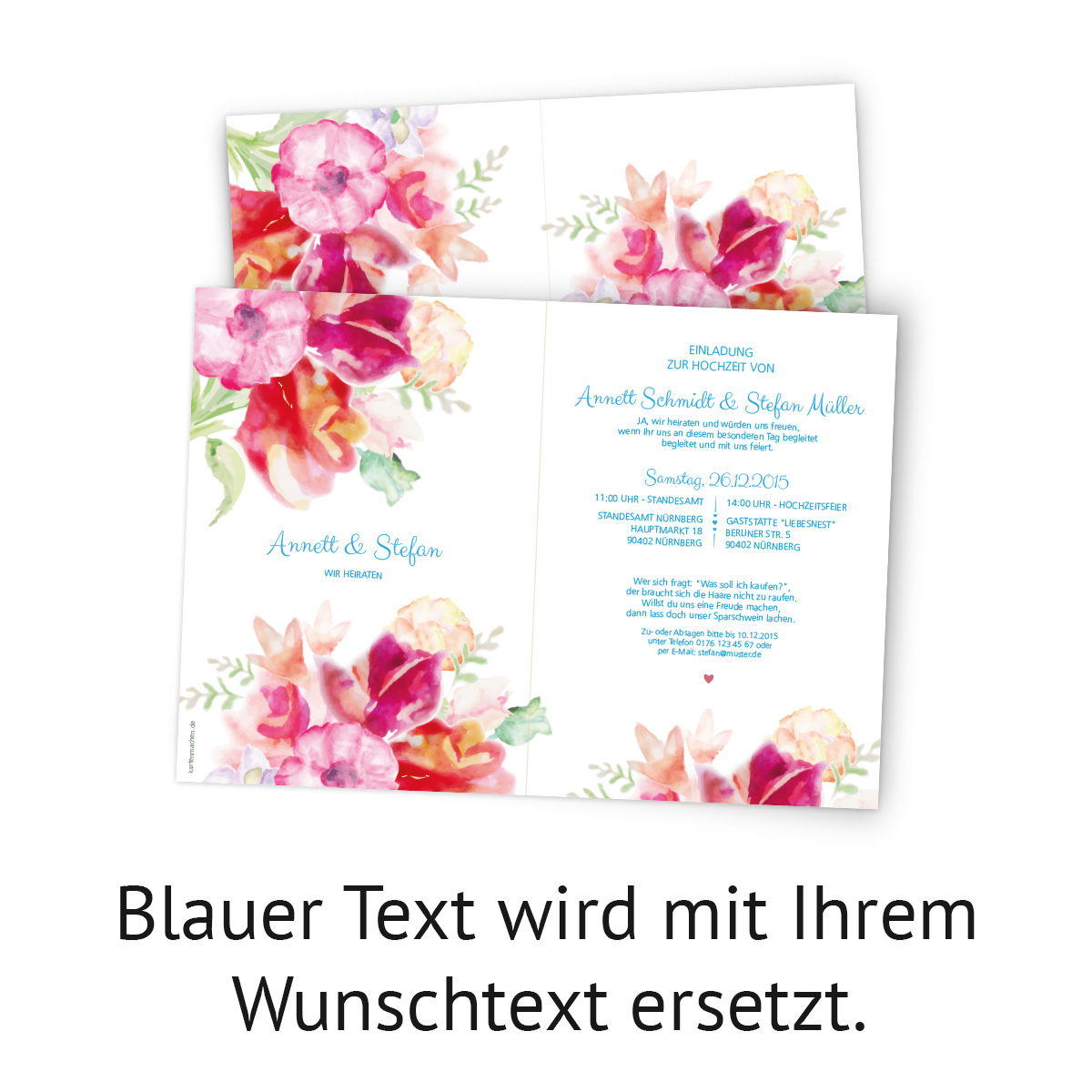 einladungen zur hochzeit blumen aquarell wasserfarbe klappkarten einladungskarte ebay. Black Bedroom Furniture Sets. Home Design Ideas