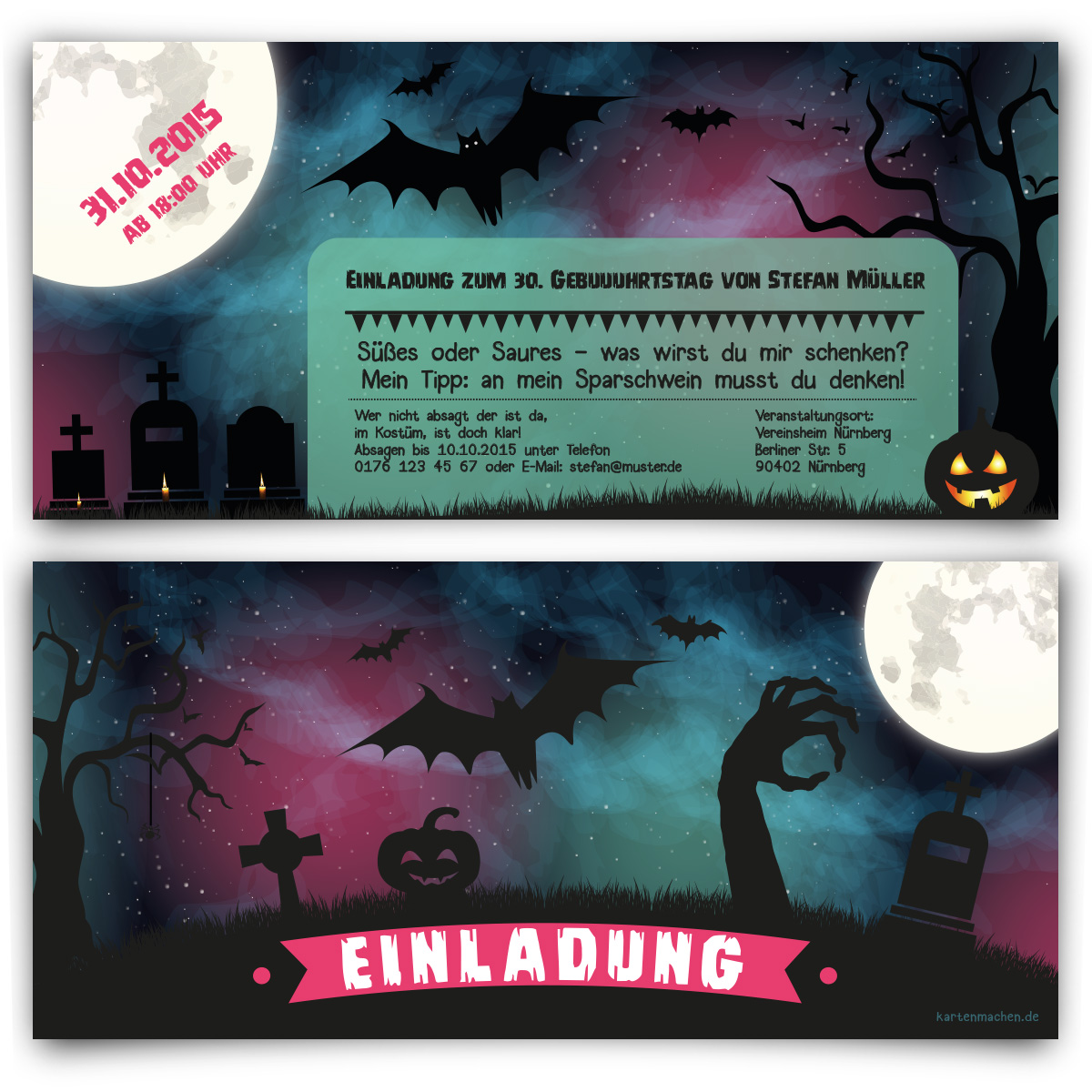 Einladungen Halloween Horror Karten 31. Oktober Kostüm Party ...