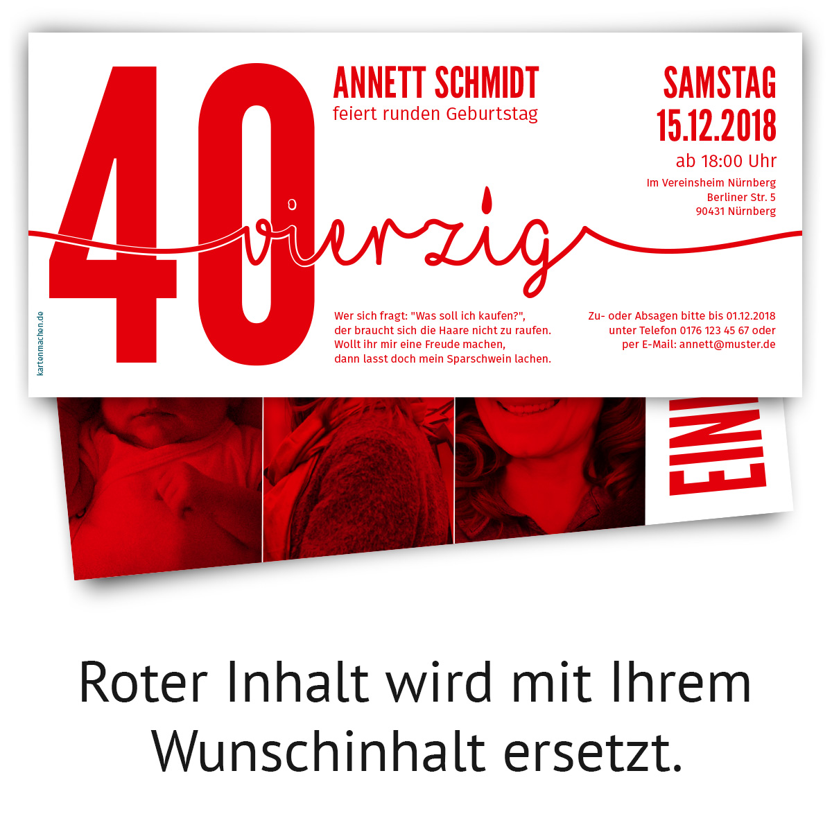 einladung runder geburtstag 40 jahre einladungskarten. Black Bedroom Furniture Sets. Home Design Ideas