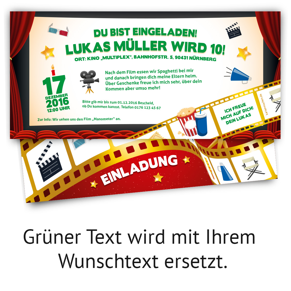 einladungskarten kindergeburtstag kino film ticket motiv einladung ebay. Black Bedroom Furniture Sets. Home Design Ideas