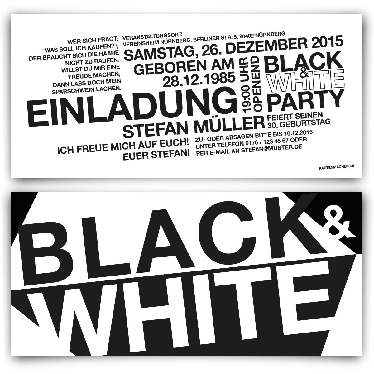 Black & White Weiß Party Einladungskarten mit eigenem Text!