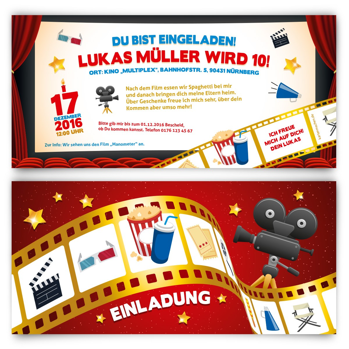 einladung zum kindergeburtstag kino film motiv. Black Bedroom Furniture Sets. Home Design Ideas