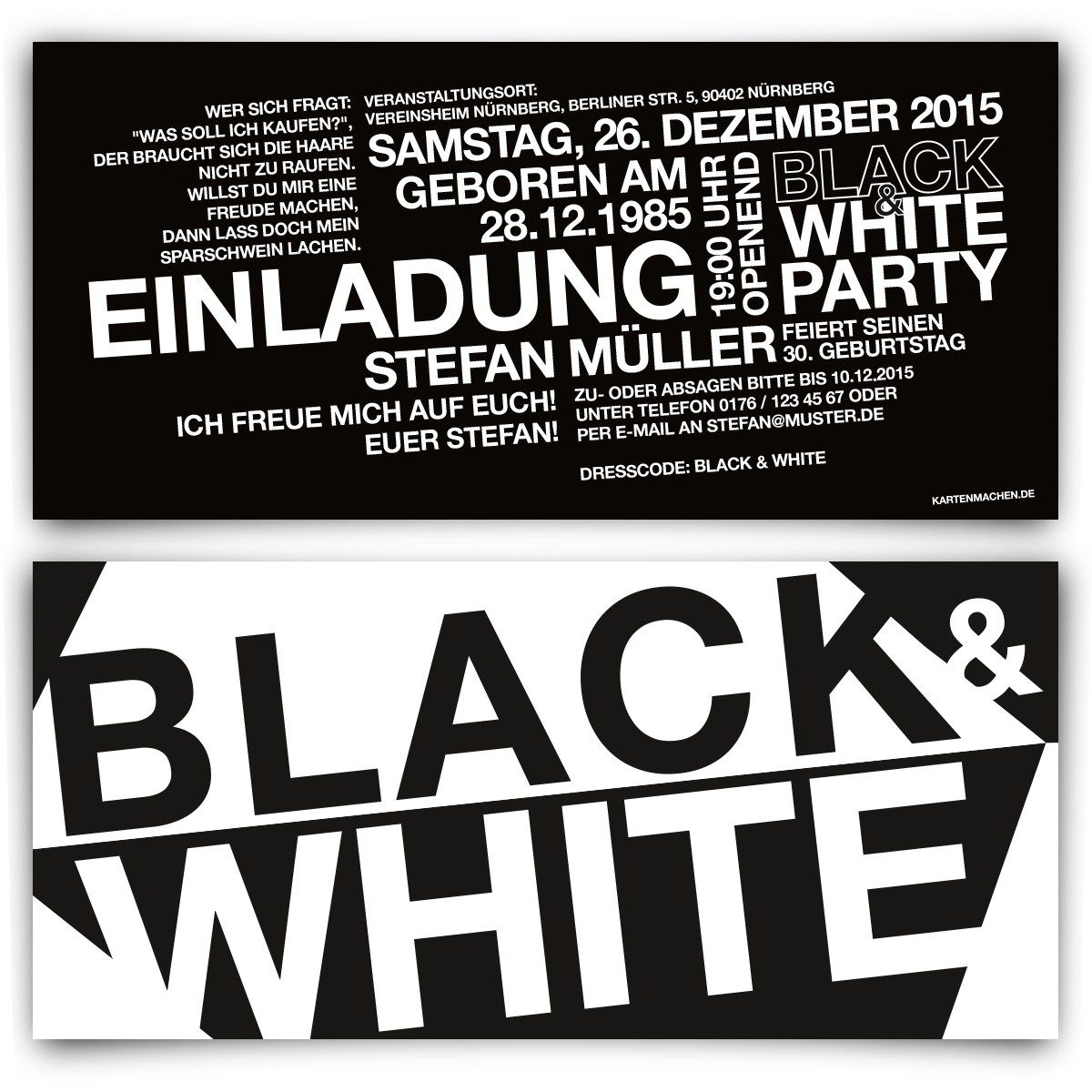 black white schwarz party einladungskarten mit eigenem text. Black Bedroom Furniture Sets. Home Design Ideas