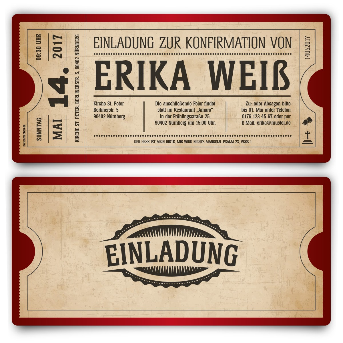 Großartig Konfirmation Einladungskarten   Vintage Ticket In Rot
