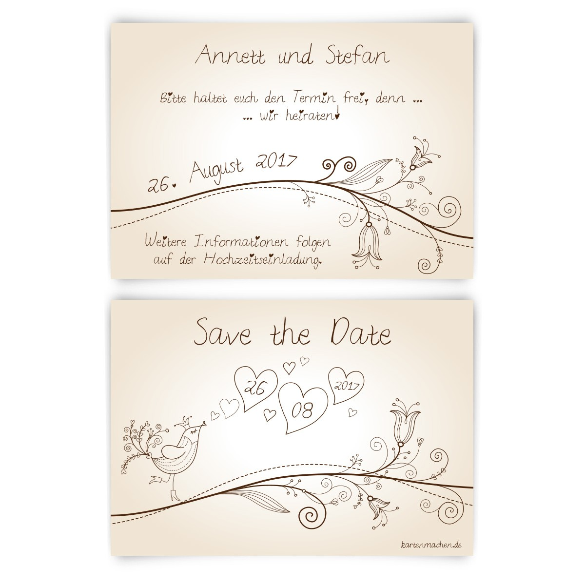 save the date karten zur hochzeit liebesbaum. Black Bedroom Furniture Sets. Home Design Ideas