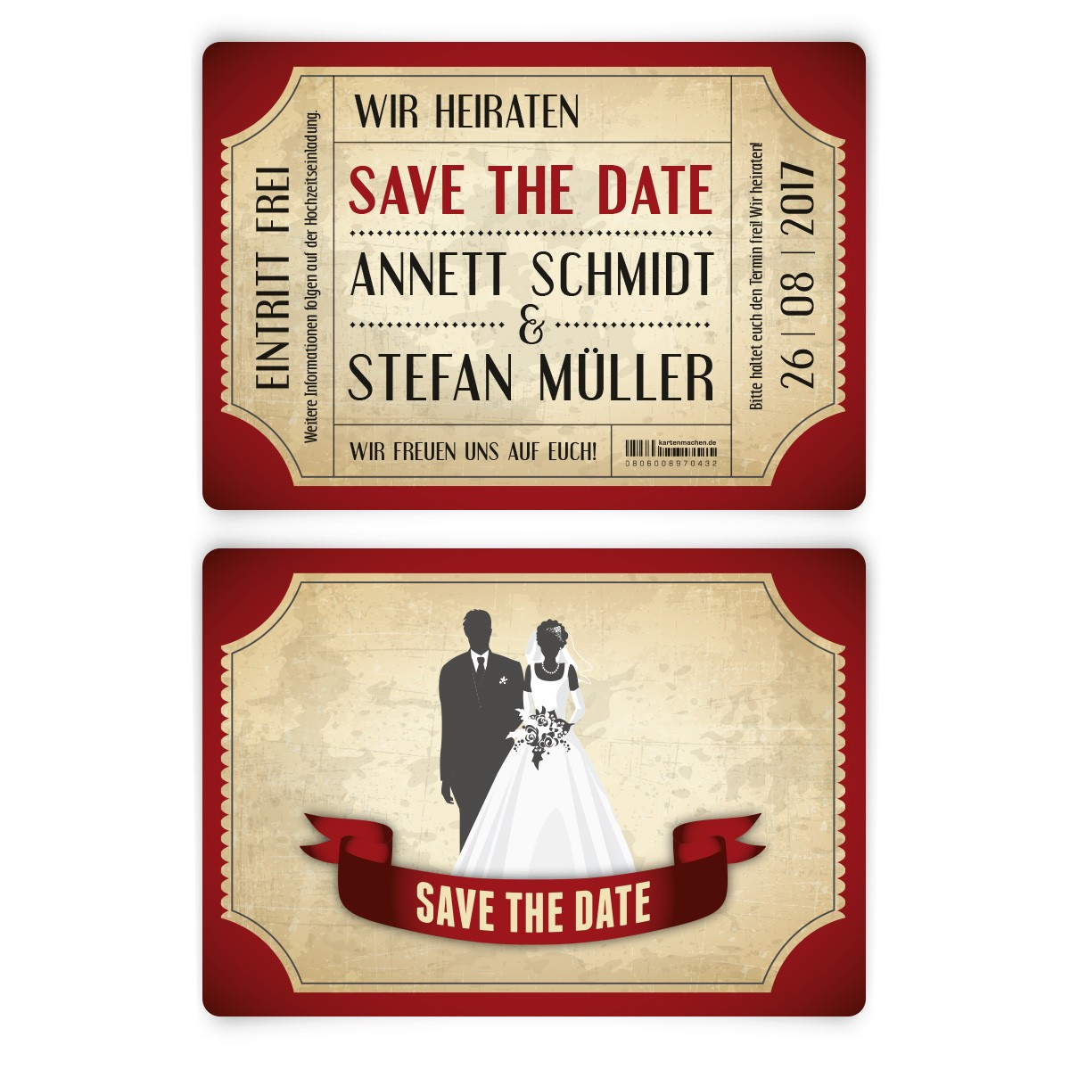 save the date karten zur hochzeit vintage brautpaar in rot. Black Bedroom Furniture Sets. Home Design Ideas