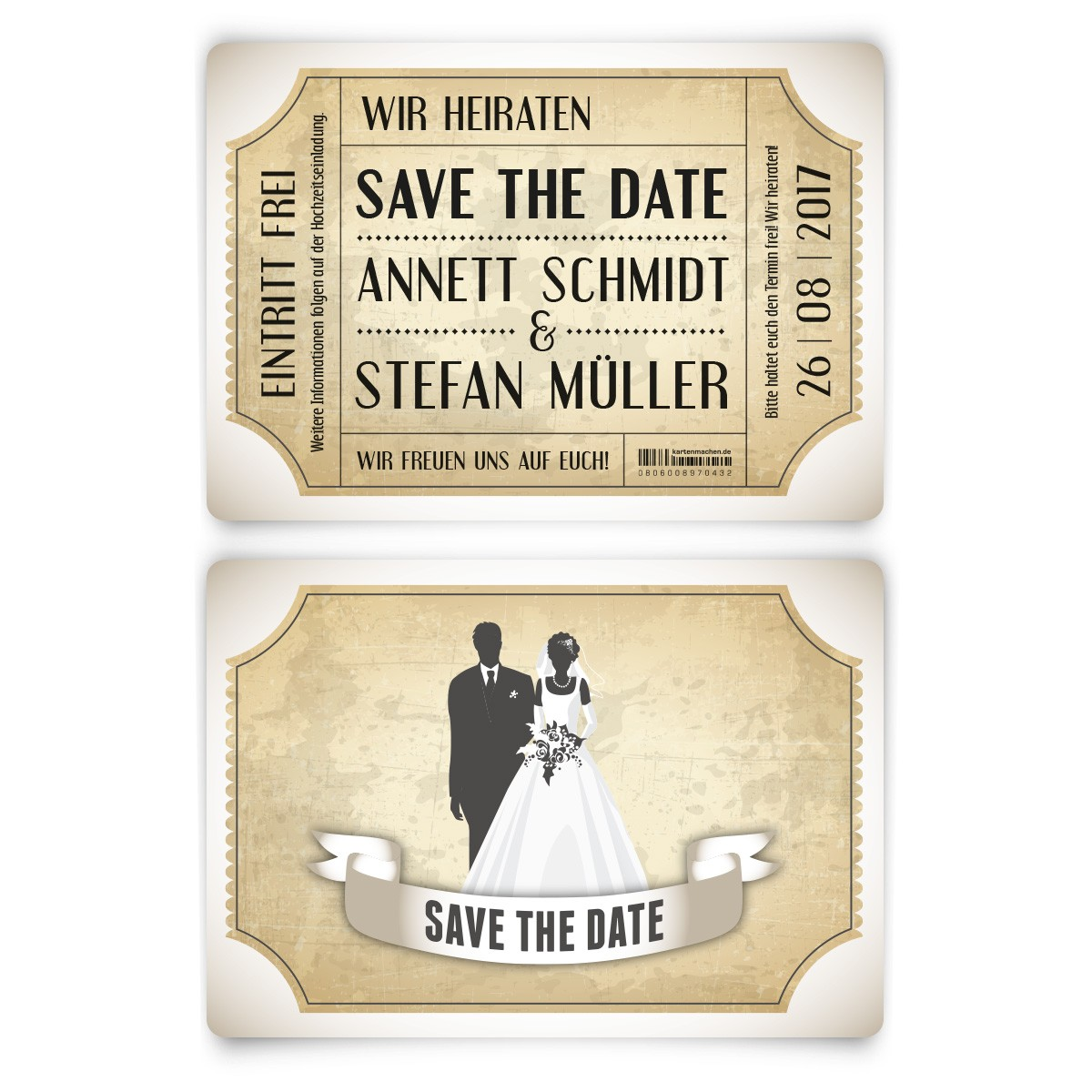 save the date karten zur hochzeit vintage brautpaar in wei. Black Bedroom Furniture Sets. Home Design Ideas