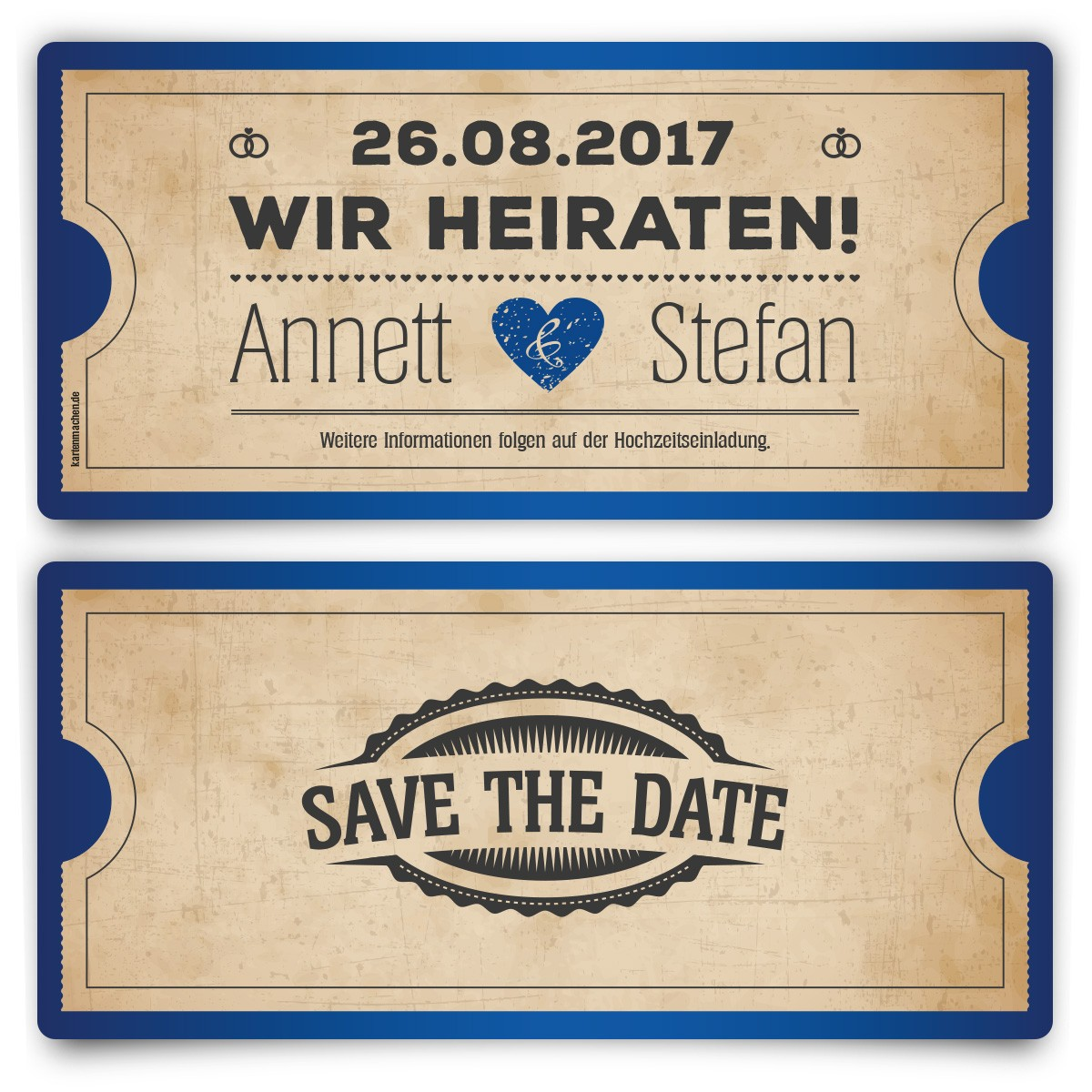 save the date karten zur hochzeit vintage herz in blau. Black Bedroom Furniture Sets. Home Design Ideas