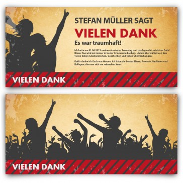 Danksagungskarten Party / Vintage Ticket