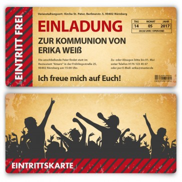 Kommunion Einladungskarten als Ticket - Party / Vintage