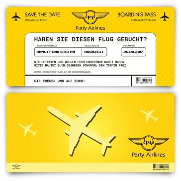 Save the Date Karte im Flugticket Motiv - Gelb