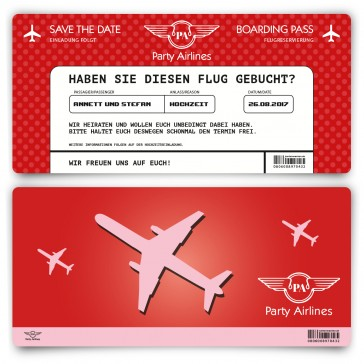 Save the Date Karte im Flugticket Motiv - Rot