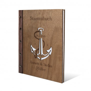 Personalisiertes Stammbuch Okoume Holz DIN A4 - Anker