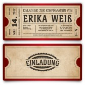 Konfirmation Einladungskarten - Vintage Ticket in Rot