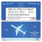 Save the Date Karte im Flugticket Motiv - Blau