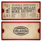 Taufe Einladungskarten - Vintage Ticket in Rot