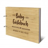 Personalisiertes Babyparty Gästebuch Bambus Ringbuch DIN A4 quer - Herzranke