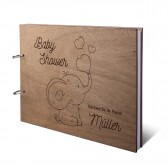 Personalisiertes Babyparty Gästebuch Okoume Holz Ringbuch DIN A4 quer - Herz-Elefant