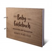 Personalisiertes Babyparty Gästebuch Okoume Holz Ringbuch DIN A4 quer - Herzranke