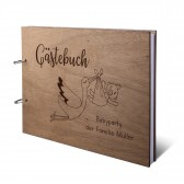 Personalisiertes Babyparty Gästebuch Okoume Holz Ringbuch DIN A4 quer - Storch