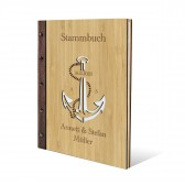 Personalisiertes Stammbuch Bambus Cover DIN A4 - Anker