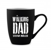 Tasse 300 ml Keramik gummiert Schwarz - Walking Dad