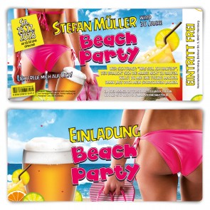 Geburtstag Einladungskarten Ticket - Beach Party