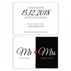 Hochzeit Save the Date Karten - Mr. & Mrs.