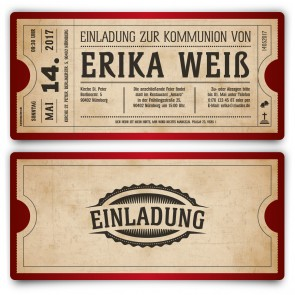 Kommunion Einladungskarten - Vintage Ticket in Rot