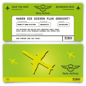 Save the Date Karte im Flugticket Motiv - Grün