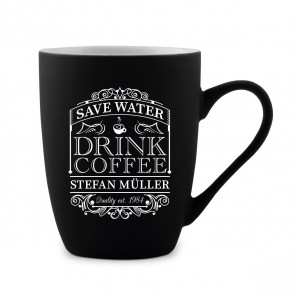 Tasse 300 ml Keramik gummiert Schwarz - Save Water Drink